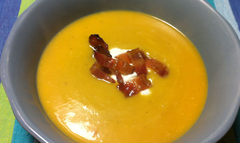 Roasted Pumpkin Soup with Candied Bacon